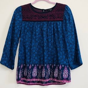 Lucky Brand boho embroidered 3/4 sleeve blouse XS